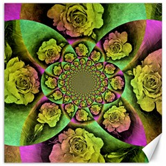 Rose Painted Kaleidoscope Colorful Canvas 12  X 12