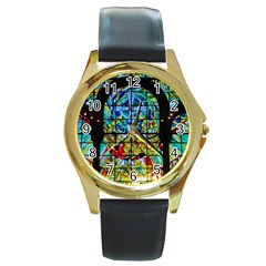Church Church Window Window Round Gold Metal Watch