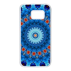 Rose Kaleidoscope Art Pattern Samsung Galaxy S7 White Seamless Case