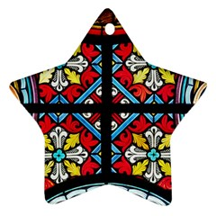 Stained Glass Window Colorful Color Ornament (star)