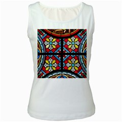 Stained Glass Window Colorful Color Women s White Tank Top