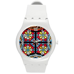 Stained Glass Window Colorful Color Round Plastic Sport Watch (m)