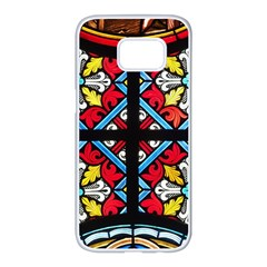 Stained Glass Window Colorful Color Samsung Galaxy S7 Edge White Seamless Case by Pakrebo