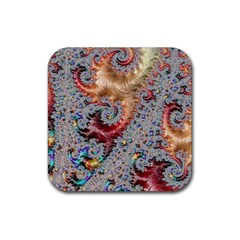 Fractal Artwork Design Pattern Rubber Coaster (square)  by Pakrebo