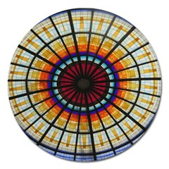 Background Stained Glass Window Magnet 5  (round)