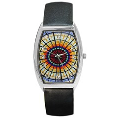 Background Stained Glass Window Barrel Style Metal Watch