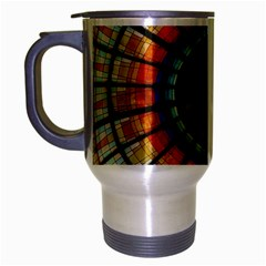 Background Stained Glass Window Travel Mug (silver Gray) by Pakrebo