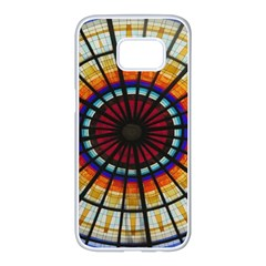 Background Stained Glass Window Samsung Galaxy S7 Edge White Seamless Case