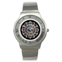 Stained Glass Cathedral Rosette Stainless Steel Watch