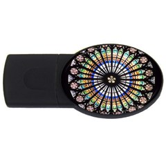 Stained Glass Cathedral Rosette Usb Flash Drive Oval (4 Gb) by Pakrebo