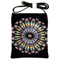 Stained Glass Cathedral Rosette Shoulder Sling Bag by Pakrebo