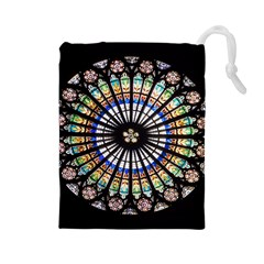 Stained Glass Cathedral Rosette Drawstring Pouch (large)