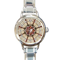 Pattern Round Abstract Geometric Round Italian Charm Watch