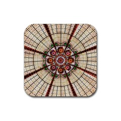 Pattern Round Abstract Geometric Rubber Square Coaster (4 Pack)