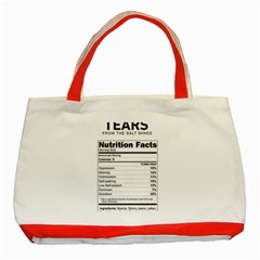 Liberal Tears  Funny With Supplement Facts Custom Colors Classic Tote Bag (red) by snek