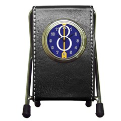 United States Army 8th Infantry Division Shoulder Sleeve Insignia Pen Holder Desk Clock by abbeyz71