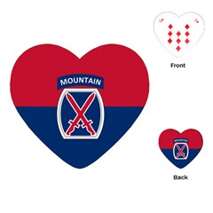 Flag Of United States Army 10th Mountain Division Playing Cards (heart)