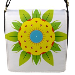 Abstract Flower Flap Closure Messenger Bag (s)