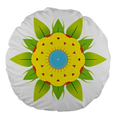 Abstract Flower Large 18  Premium Flano Round Cushions