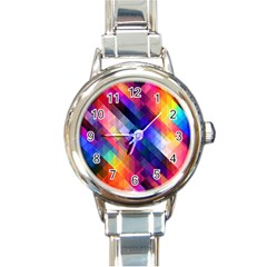 Abstract Background Colorful Round Italian Charm Watch by Alisyart