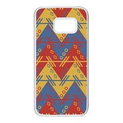 Aztec South American Pattern Zig Samsung Galaxy S7 White Seamless Case by Alisyart