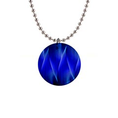 Audio Sound Soundwaves Art Blue 1  Button Necklace