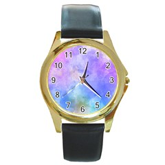Background Abstract Purple Watercolor Round Gold Metal Watch by Alisyart