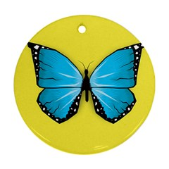 Butterfly Blue Insect Ornament (round)