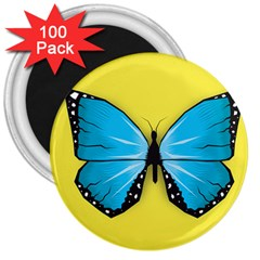 Butterfly Blue Insect 3  Magnets (100 Pack)