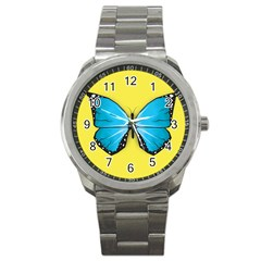 Butterfly Blue Insect Sport Metal Watch