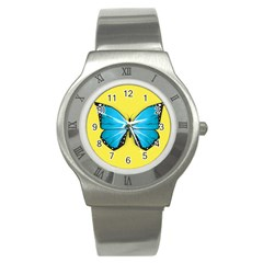 Butterfly Blue Insect Stainless Steel Watch by Alisyart