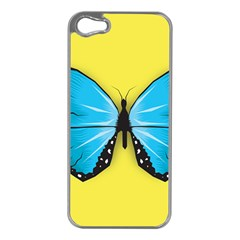 Butterfly Blue Insect Apple Iphone 5 Case (silver)