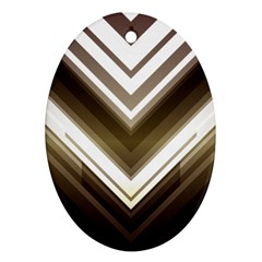 Chevron Triangle Oval Ornament (two Sides) by Alisyart