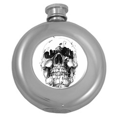 Black Skull Round Hip Flask (5 Oz)