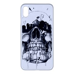 Black Skull Apple Iphone Xs Max Seamless Case (white) by Alisyart