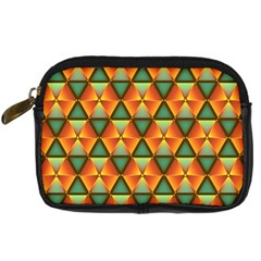 Background Triangle Abstract Golden Digital Camera Leather Case by Alisyart