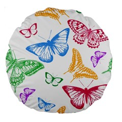 Butterfly Rainbow Large 18  Premium Round Cushions