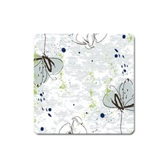 Butterfly Flower Square Magnet