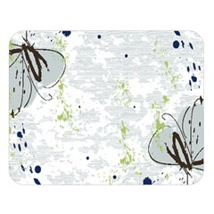 Butterfly Flower Double Sided Flano Blanket (large)