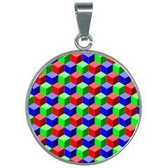 Colorful Prismatic Rainbow 30mm Round Necklace by Alisyart