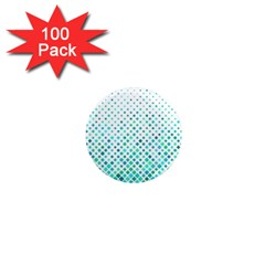 Diagonal Square Cyan Element 1  Mini Magnets (100 Pack)