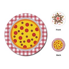 Pizza Table Pepperoni Sausage Playing Cards (round)