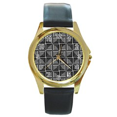 Pattern Op Art Black White Grey Round Gold Metal Watch