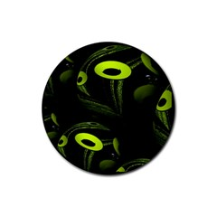 Fractal Fractals Green Ball Black Rubber Round Coaster (4 Pack)  by Pakrebo