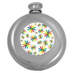 Celebrate Pattern Colorful Design Round Hip Flask (5 Oz)