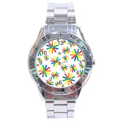 Celebrate Pattern Colorful Design Stainless Steel Analogue Watch