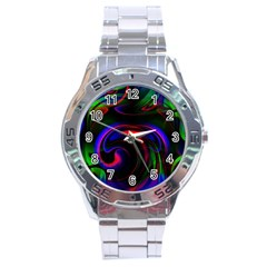 Swirl Background Design Colorful Stainless Steel Analogue Watch