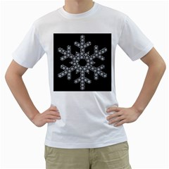 Snowflake Abstract Pattern Shape Men s T Shirt (white) (two Sided)