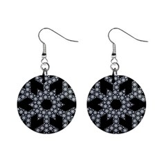Snowflake Abstract Pattern Shape Mini Button Earrings