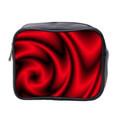 Background Red Color Swirl Mini Toiletries Bag (two Sides)